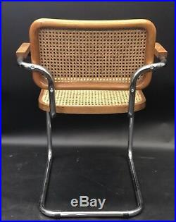 (1) Midcentury Marcel Breuer for Knoll Cane Cesca Chair Chrome and Caning