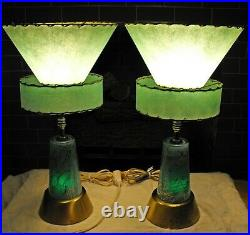 1950s Mid Century Modern table Lamps atomic fiberglass shades RARE matched pair