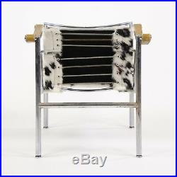 1960's Vintage Pair Le Corbusier LC1 Cassina Basculant Chairs Cowhide Knoll