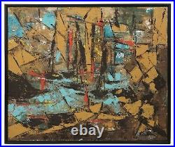 1960s Abstract Expressionist Oil Painting Mid Century Modern Abstraction Art