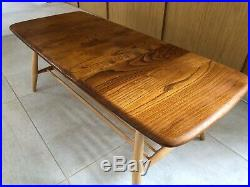 1960s Ercol Coffee Table With Magazines Rack In Blonde, Mid Century, Retro