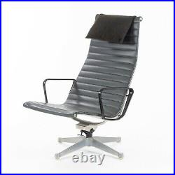 1961 Pair of Herman Miller Eames Aluminum Group Lounge Chairs Charcoal Naugahyde