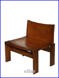 1970s Monk Afra & Tobia Scarpa by Molteni Leather Lounge Chair