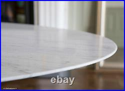 200cm x 120cm Oval White Carrara Marble Tulip Style Dining Table