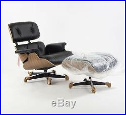 2019 Brand New Herman Miller Eames Lounge Chair and Ottoman Walnut Black Leather