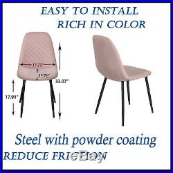 2X Dining Chairs Velvet Fabric Padded Seat Metal Legs PINK Office Living Room UK