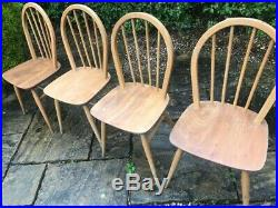4 ERCOL Windsor Dining Chairs Stick Back ELM Wood Mid Century RETRO Vintage