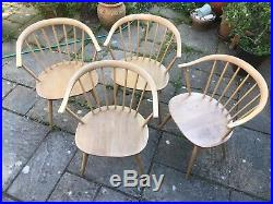 4 Vintage ERCOL COWHORN 449A Windsor Elbow Dining Chairs + orig. Seat cushions