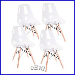 4PCS Ghost Clear Acrylic Style Dining Office Transparent Eiffel Wood Leg Chairs