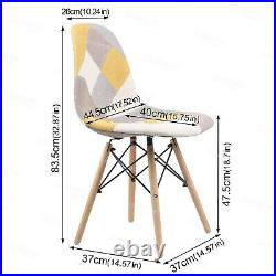 90cm Glass Round Dining Table and 4 Chairs Padded Patchwork Fabric Seat Option