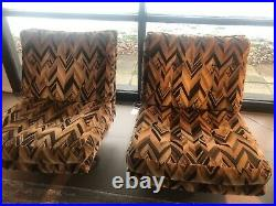 A Pair Of Milo Baughman, Velvet Swivel Chairs In great Condition