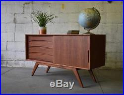 Apartment Sized Mid Century Modern Teak Credenza Media Stand
