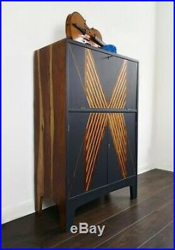 Art Deco/1960/Solid Wood/Retro/Mid century/Drink/Bar/Cocktail Cabinet/Navy/Gold