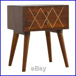 Art Deco Inspired 2 Drawer Bedside Table Dark Wood With Gold Inlay Mid Century
