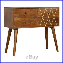 Art Deco Inspired 4 Drawer Console Table Cabinet Gold Wire Detail Mid Century