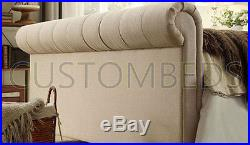 Chesterfield Buttoned Sleigh Scroll Bed Frame 4FT6 5FT 6FT Double King BK6