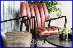 Chestnut Brown Leather MID Century Modern Style Armchair Ribbed Upholstery