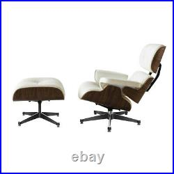 Cream EAMS Lounge Chair & Footstool 100% Real Leather Walnut Armchair Recliner