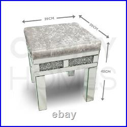 Crushed Crystal Mirrored Velvet Dressing Table LARGE Stool FREE DELIVERY