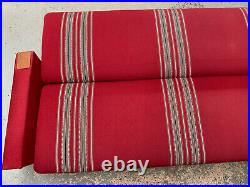 EB1678 Danish Skalma Red Striped Wool Sofa Bed Mid Century Modern Daybed Vintage