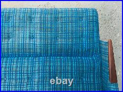 EB1765 Danish Blue Checked Wool Sofa Bed with Teak Arms Mid Century Modern
