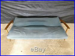 EB660 Stained Beech Sofa Bed British Retro Mid Century Modern Upholstery Project