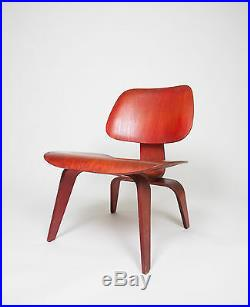 Eames Herman Miller Early 50's LCW Early Red Aniline, All Original Lounge Chair
