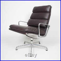 Eames Herman Miller Soft Pad Aluminum Group Lounge Chair Brown Leather
