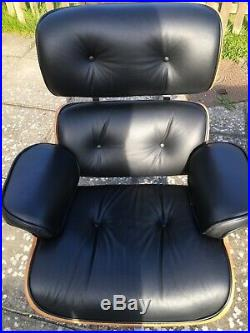 Eames Style Black Lounge Chair and Footstool