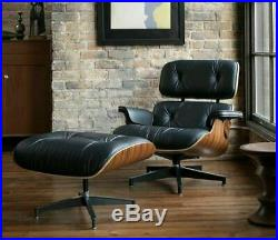 Eames Style Mid Century Modern Classic Lounge Chair & Ottoman Leather Rosewood