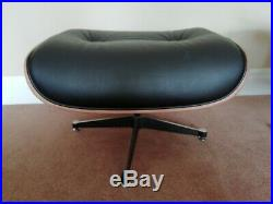 Eames style lounge chair and ottoman black and rosewood