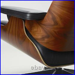 Eams Lounge Chair And Footstool Ottoman Black Real Leather Walnut
