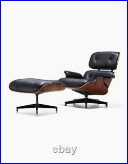 Eams Lounge Chair And Footstool Ottoman Black Real Leather Walnut Rosewood