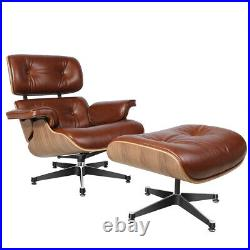 Eams Style Aniline Leather Lounge Chair & Footstool Walnut Armchair Retro Brown