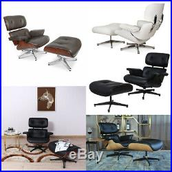 Eams Style Lounge Chair & Footstool Furniture Italian leather Genuine Armchair