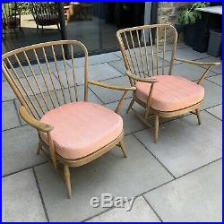 Ercol Chairs Matching Pair Blonde Wood Arm Chair Mid Century Eames Danish