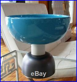 Ettore Sottsass Large Vase Bowl Turquoise Pottery Bitossi Memphis Made In Italy