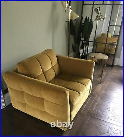Fabb Sofas Swoon Loaf Buster Old Gold Ochre Yellow Cuddle Seat Chair Velvet £990