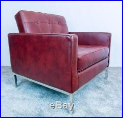 Florence Knoll Style Armchair Brown / Red Sofa Modern Mid Century 50s 60s