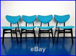 Four teal blue G Plan E Gomme Butterfly dining chairs tola retro mid century