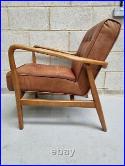 Frank Hudson Humber Mid Century Vintage Tan Leather Buttoned Armchair RRP-£799
