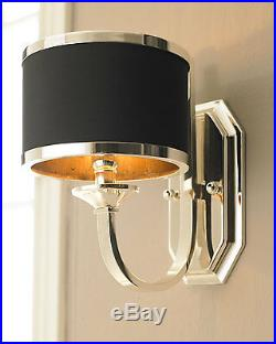 French Regency Modern Glam Horchow Wall Sconce Silver Black Shade Stunning $250