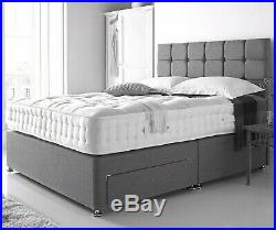 Grey Divan Storage Bed With Memory Mattress-headboard-drawers Free Delivery