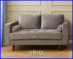 Grey Plush Velvet 3 & 2 Seater Sofa Set Suite Couches Settees New Silver Small