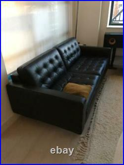 HEALS Hepburn Mid Century Style Black Graphite Leather sofa