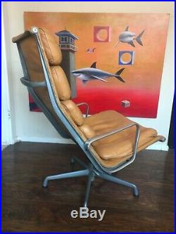 HERMAN MILLER Eames Soft Pad Aluminum Group Lounge Chair & Ottoman Midcentury