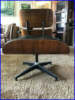 Herman Miller Eames Vintage Black Leather and Rosewood Chair & Ottoman 1974