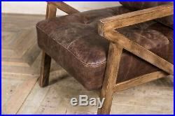 Hickory Brown Leather MID Century Modern Style Z-frame Armchair