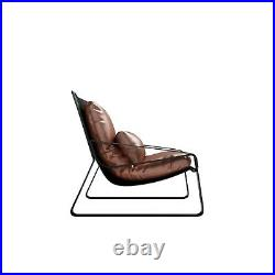 Industrial Retro Mid-Century Armchair Black PU Leather Solid Metal Frame
