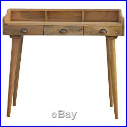 Large Mid Century Style Desk With 3 Cup Handled Drawers Gallery Back 100cm